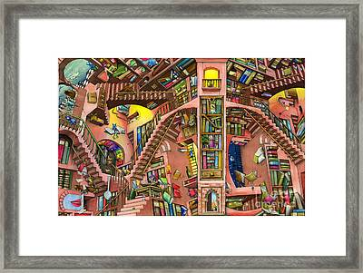 Library Framed Print by Colin Thompson