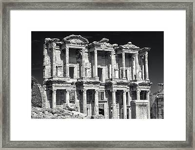 Framed Print featuring the photograph Library Of Celsus Ruins At Ephesus by Brad Brizek