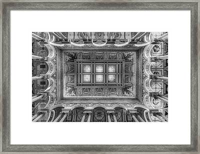 Library Of Congress Main Hall Ceiling Bw Framed Print