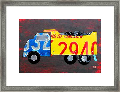 License Plate Art Dump Truck Framed Print by Design Turnpike