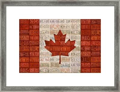 License Plate Art Flag Of Canada Framed Print