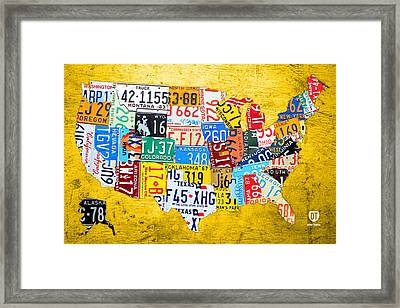 License Plate Art Map Of The United States On Yellow Board Framed Print