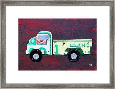 License Plate Art Pickup Truck Framed Print