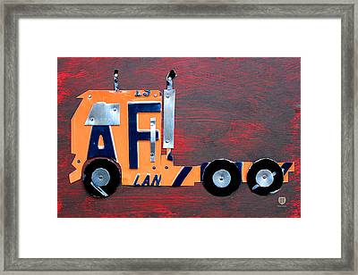 License Plate Art Semi Truck Framed Print by Design Turnpike