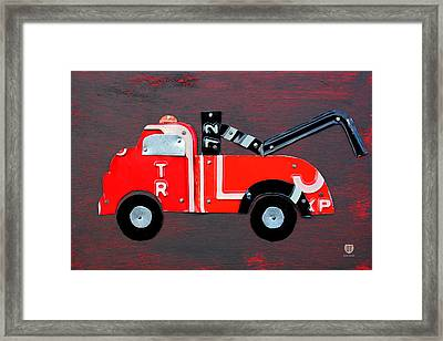 License Plate Art Tow Truck Framed Print by Design Turnpike