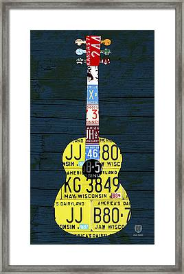 License Plate Guitar Edition 2 Vintage Recycled Metal Art On Wood Framed Print by Design Turnpike