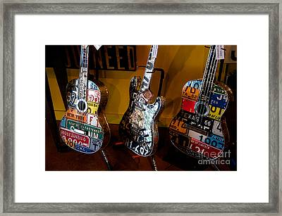 Framed Print featuring the photograph License Plate Guitars by Vinnie Oakes