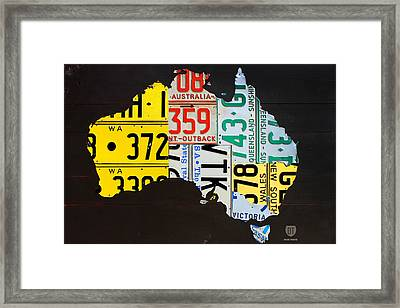 License Plate Map Of Australia Framed Print