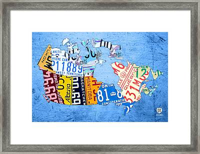 License Plate Map Of Canada On Sky Blue Framed Print