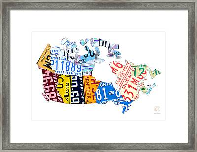License Plate Map Of Canada On White Framed Print