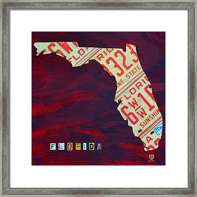 License Plate Map Of Florida By Design Turnpike Framed Print by Design Turnpike