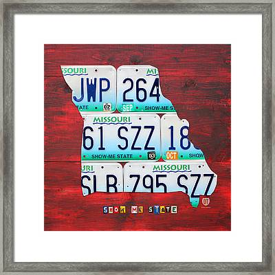 License Plate Map Of Missouri - Show Me State - By Design Turnpike Framed Print