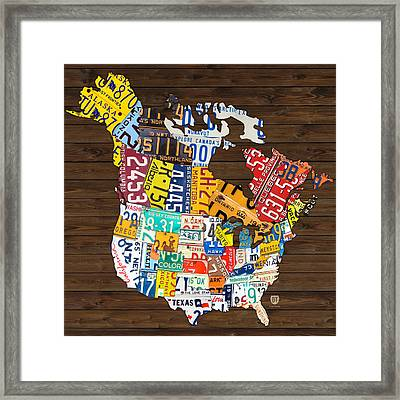 License Plate Map Of North America - Canada And United States Framed Print