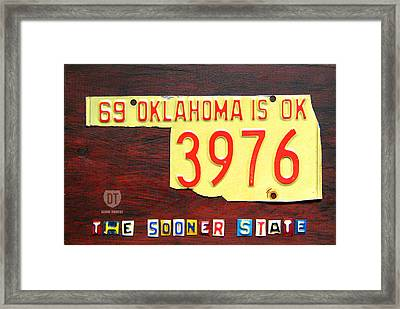 License Plate Map Of Oklahoma By Design Turnpike Framed Print