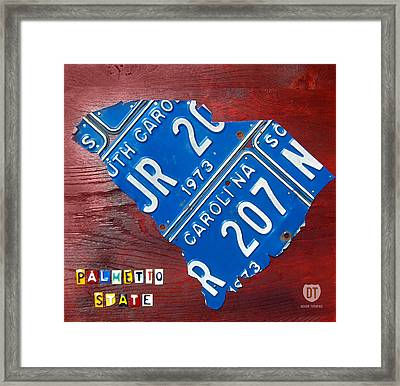 License Plate Map Of South Carolina By Design Turnpike Framed Print by Design Turnpike