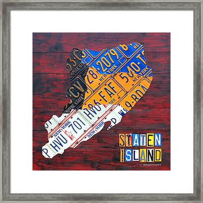 License Plate Map Of Staten Island New York Nyc Framed Print