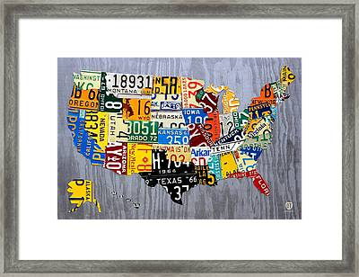 License Plate Map Of The United States - Muscle Car Era - On Silver Framed Print by Design Turnpike