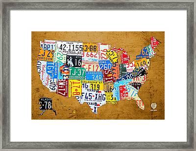 License Plate Map Of The United States On Burnt Orange Slab Framed Print by Design Turnpike