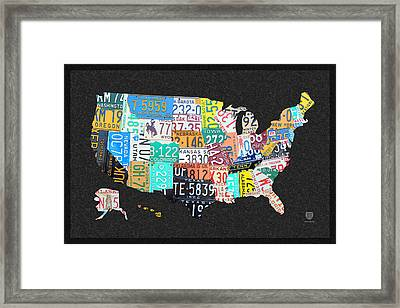 License Plate Map Of The United States On Gray Felt With Black Box Frame Edition 14 Framed Print by Design Turnpike