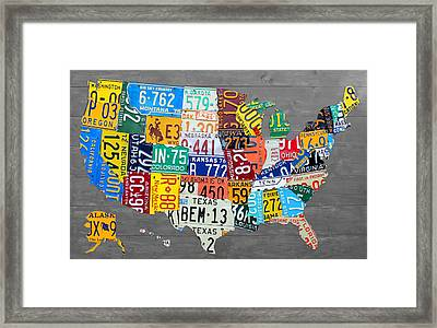 License Plate Map Of The United States On Gray Wood Boards Framed Print