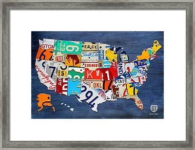 License Plate Map Of The United States - Small On Blue Framed Print by Design Turnpike