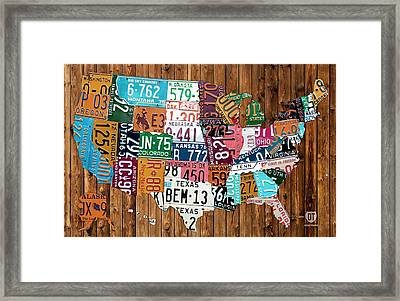 License Plate Map Of The United States - Warm Colors On Pine Board Framed Print by Design Turnpike