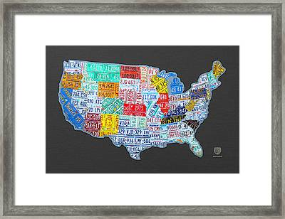 License Plate Map Of The Usa On Gray Framed Print