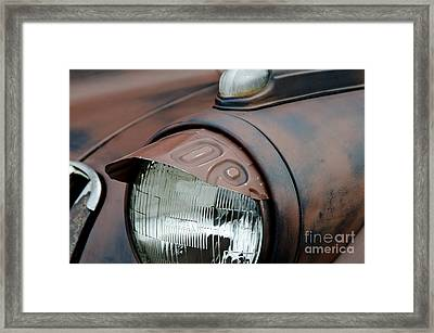 License Tag Eyebrow Headlight Cover  Framed Print by Wilma  Birdwell
