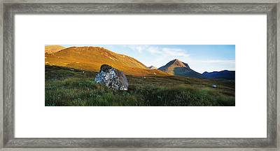 Lichen Covered Rock In A Field, Glen Framed Print by Panoramic Images