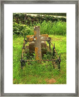 Lichen On A Stone Cross In Clean Air Framed Print by Cordelia Molloy