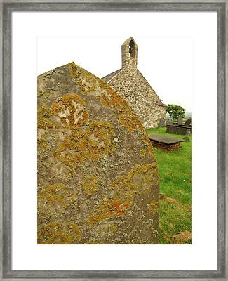 Lichen On Gravestone In Unpolluted Air Framed Print by Cordelia Molloy