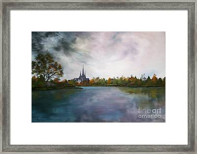 Lichfield Catherdral A View From Stowe Pool Framed Print by Jean Walker