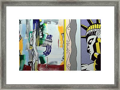 Lichtenstein's Painting With Statue Of Liberty Framed Print