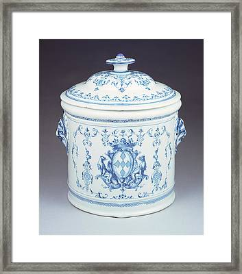 Lidded Jar Joseph Olerys Manufactory Moustiers Framed Print by Litz Collection