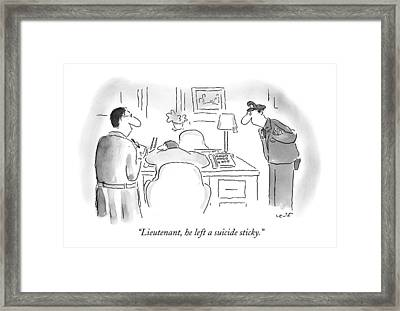 Lieutenant, He Left A Suicide Sticky Framed Print by Arnie Levin