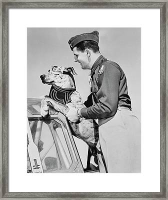 Lieutenant Lifting His Great Dane Framed Print by Stocktrek Images