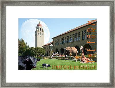 Life Down On The Farm Under The Moon Stanford University California With Text Dsc685 Framed Print by Wingsdomain Art and Photography