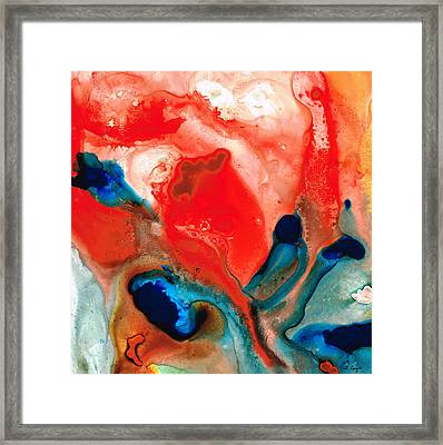 Life Force - Red Abstract By Sharon Cummings Framed Print