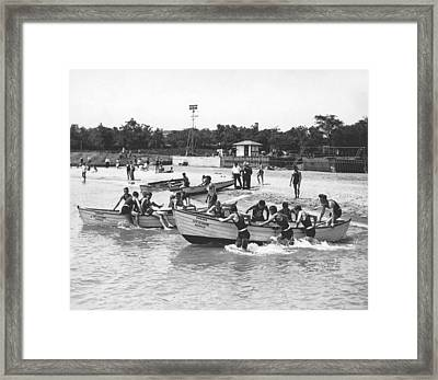 Life Guards Summer Training Framed Print by Underwood Archives