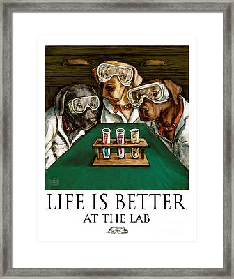 Life Is Bette At The Lab - Labrador Retrievers Framed Print by Kathleen Harte Gilsenan