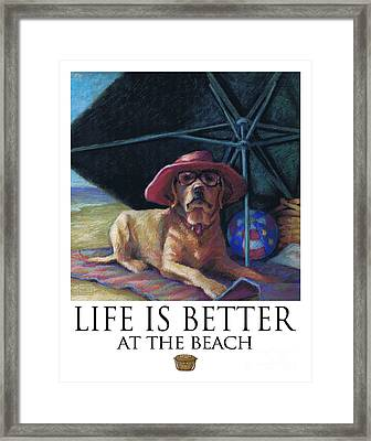 Life Is Better At The Beach Yellow Lab With Basket Framed Print by Kathleen Harte Gilsenan