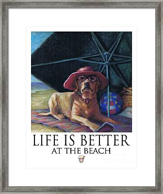 Life Is Better At The Beach Yellow Lab With Bucket Framed Print by Kathleen Harte Gilsenan