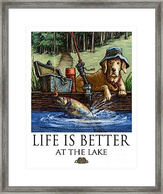 Life Is Better At The Lake Yellow Lab Fishing Framed Print by Kathleen Harte Gilsenan