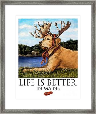 Life Is Better In Maine Yellow Lab Framed Print by Kathleen Harte Gilsenan