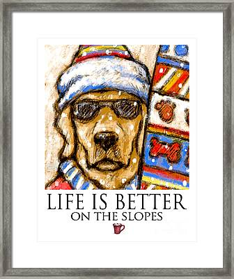 Life Is Better On The Slopes - Yellow Lab Going Skiing Or Snowboarding Framed Print by Kathleen Harte Gilsenan
