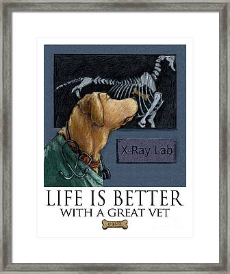 Life Is Better With A Great Vet Yellow Lab X-ray Framed Print by Kathleen Harte Gilsenan