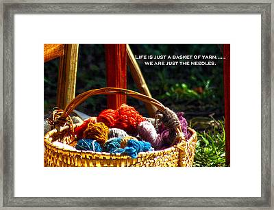 Framed Print featuring the photograph Life Is Just A Basket Of Yarn by Lesa Fine