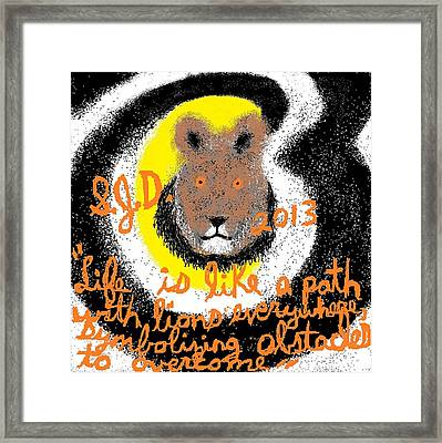 Life Is Like A Path With Lions Everywhere Symbolizing Obstacles To Overcome Framed Print by Joe Dillon