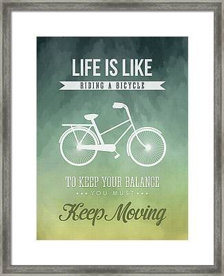 Life Is Like Riding A Bicyle Framed Print by Aged Pixel