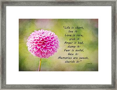 Life Is Short Framed Print by Trish Tritz